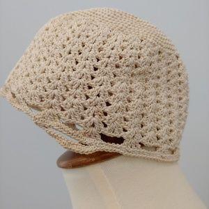 VINTAGE Crocheted Baby Hat, Ecru